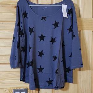 3/4 sleeve star spangled shirt